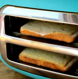 a grilled cheese in a toaster