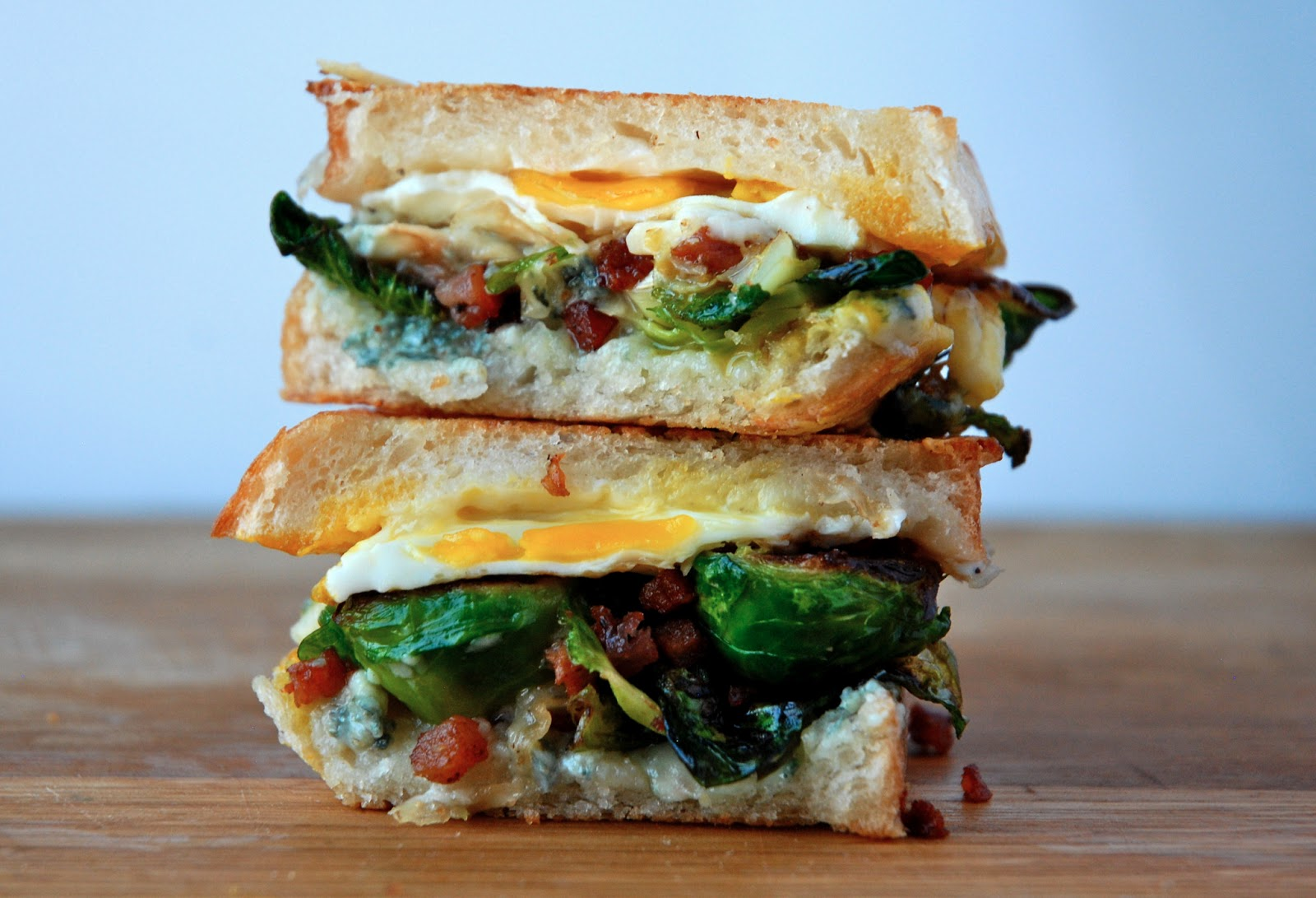 brussels sprouts, bacon and egg grilled cheese
