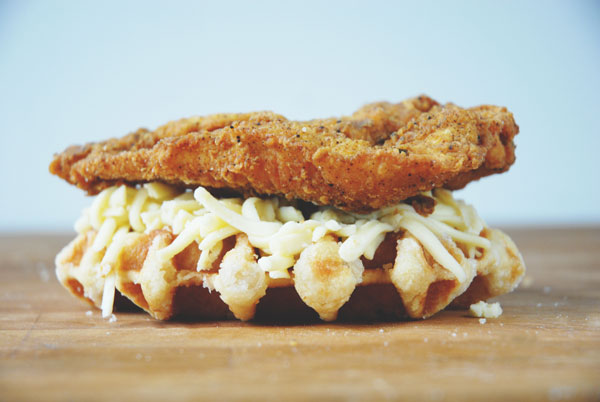 Fried chicken and waffle grilled cheese by Grilled Cheese Social