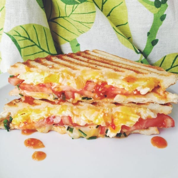 Scrambled Eggs, tomato, hot sauce grilled cheese social