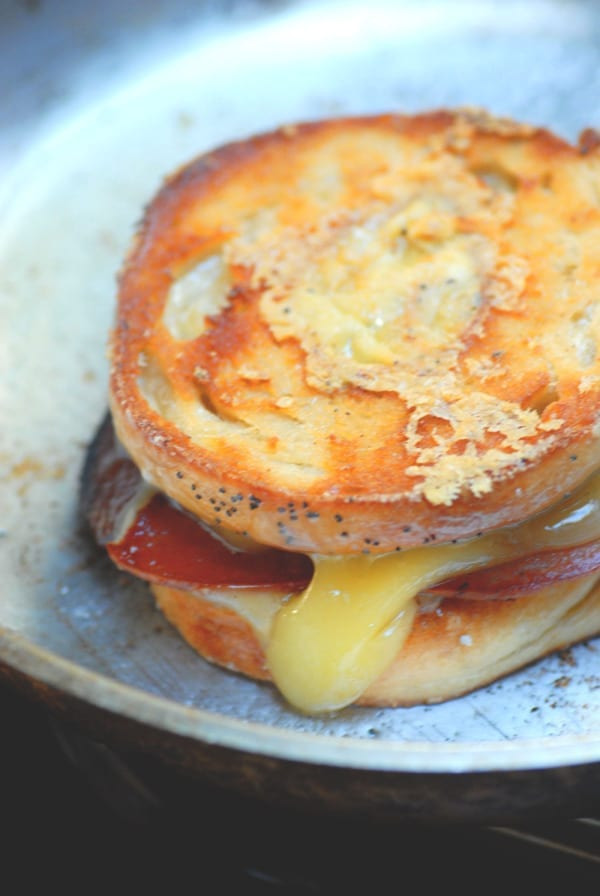 pork roll bagel grilled cheese