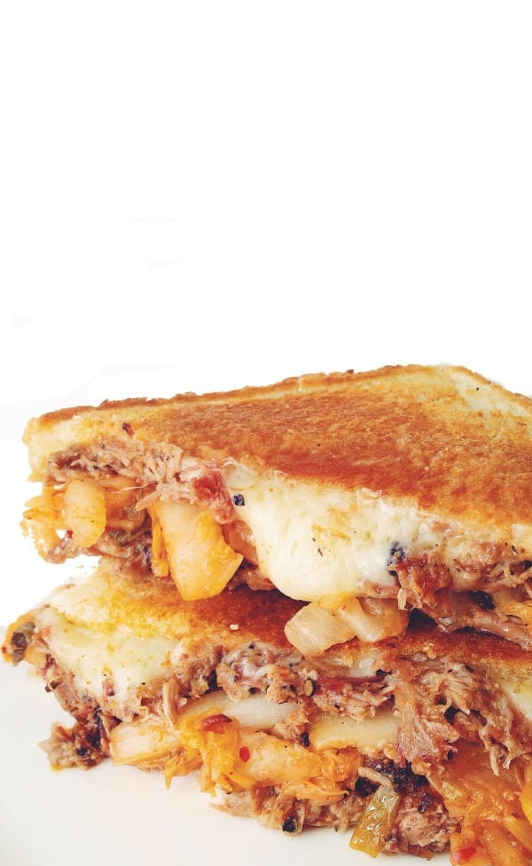 kimchi grilled cheese with brisket