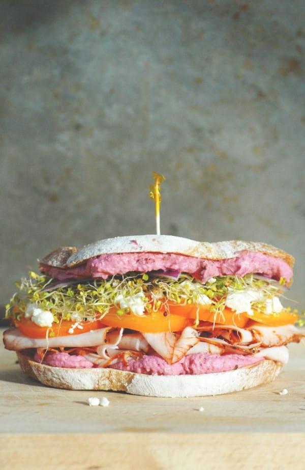 beet hummus turkey sandwich