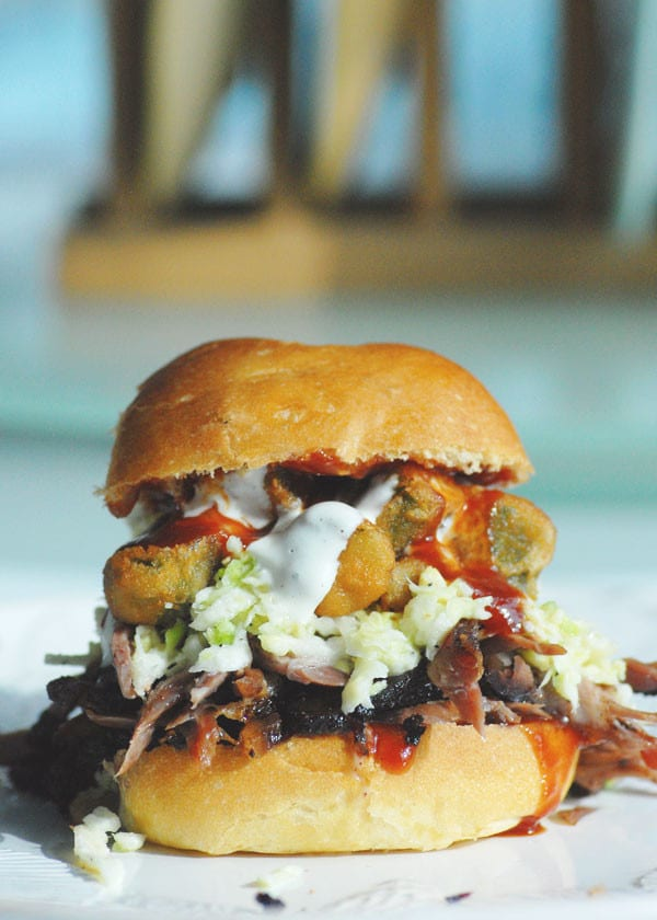 brisket and okra sandwich