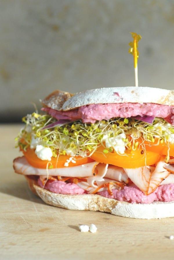 beet hummus and turkey sandwich