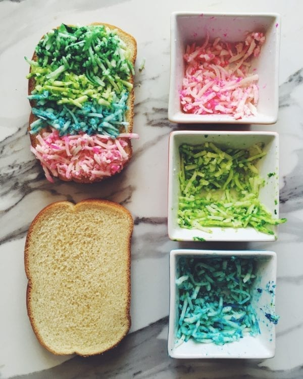 how to make a rainbow grilled cheese