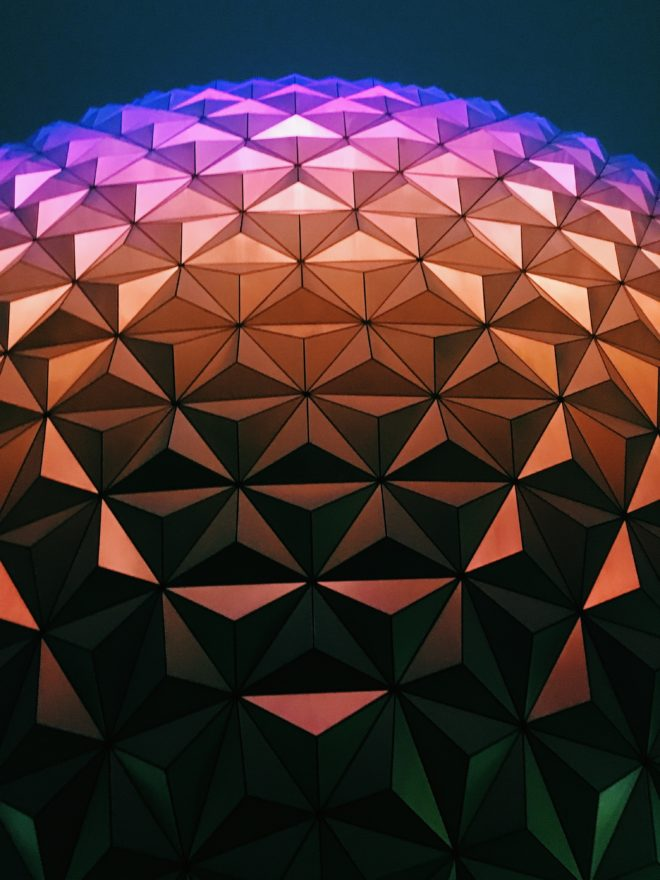 Epcot Spaceship Earth nighttime
