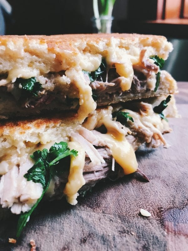 Mango Habanero Grilled Cheese Sandwich with Mojo Pulled Pork