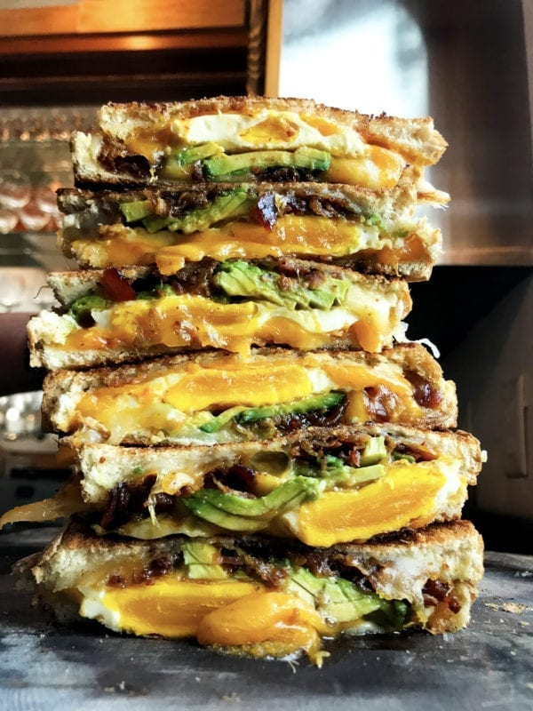 candied bacon avocado breakfast grilled cheese