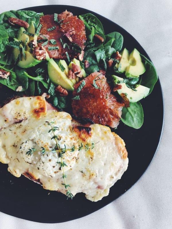Tartine Au Fromage with Avocado + Caramelized Grapefruit Salad