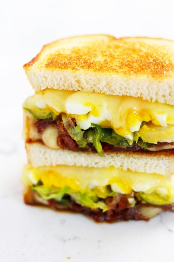 brussels sprouts, candied bacon and 7 minute egg grilled cheese