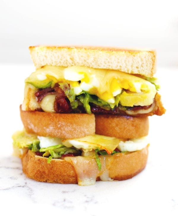 brussels sprouts, candied bacon + egg grilled cheese by grilled cheese social!