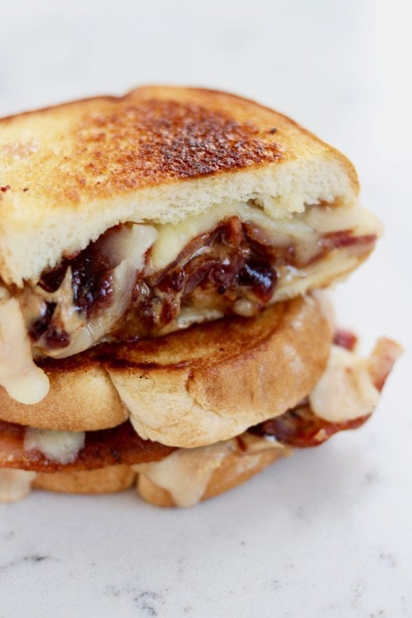 peanut butter jelly and bacon grilled cheese sandwich - so fun and unexpectedly tasty!