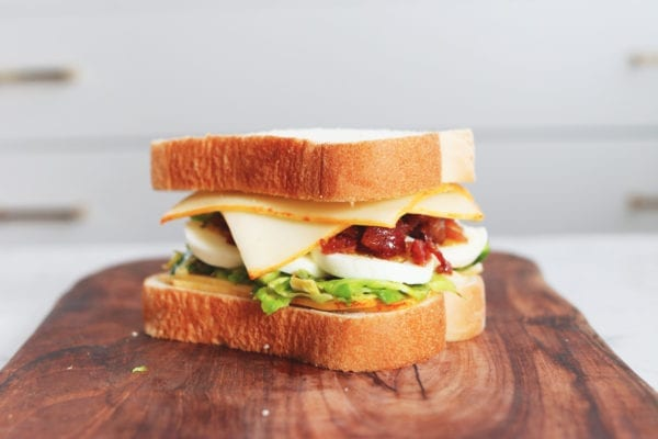 brussels sprouts, egg, and candied bacon grilled cheese sandwich recipe