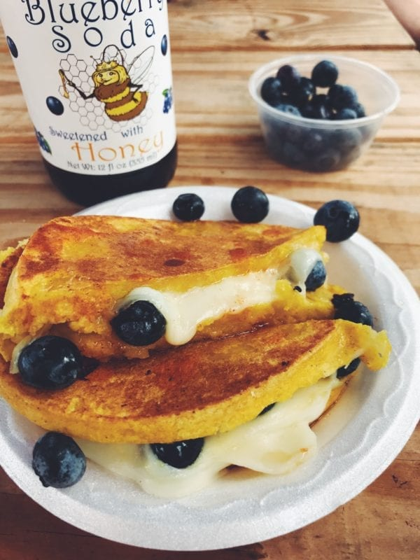 sweet corn arepa with fresh blueberries