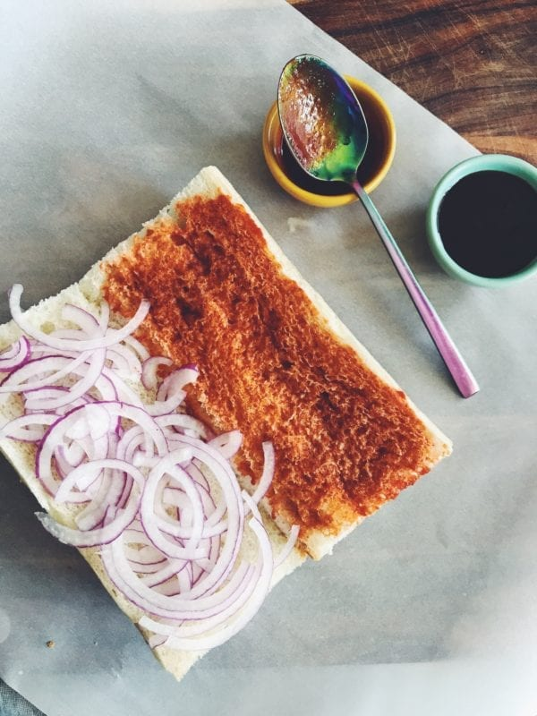 This tasty Pho Sandwich is made with Roast Beef, Hoisin, Sriracha and Herbs!