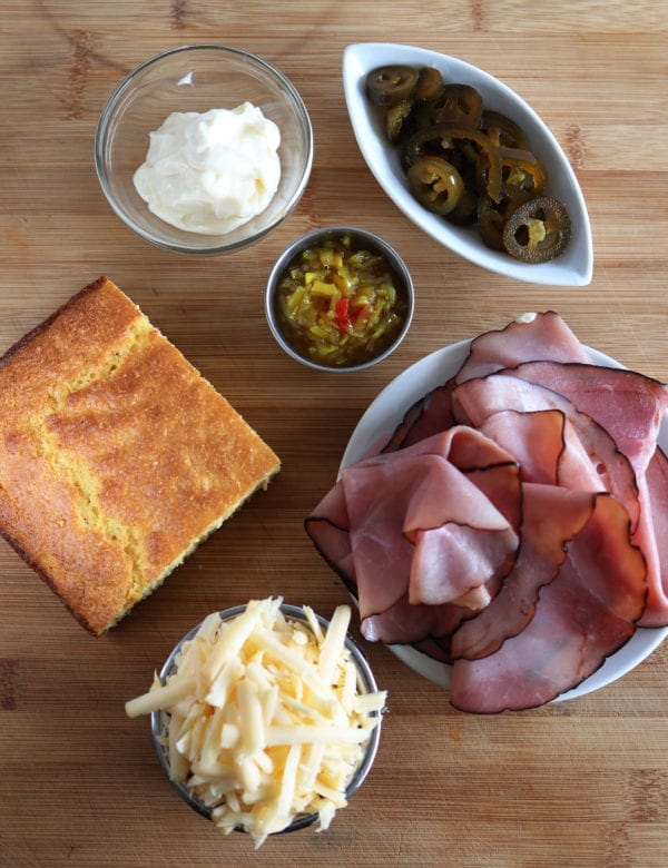 Ham, Cheese, and Pickled Jalapeno Cornbread Sandwich with Chow Chow Mayo