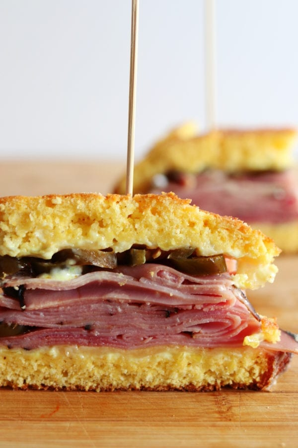 Cornbread Sandwich with White Cheddar, Honey Ham and Pickled Jalapenos