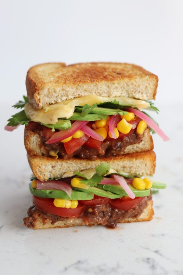 7 layer dip grilled cheese