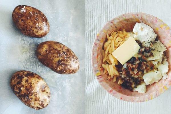 twice baked stuffed potatoes with sage, pancetta and smoked gouda
