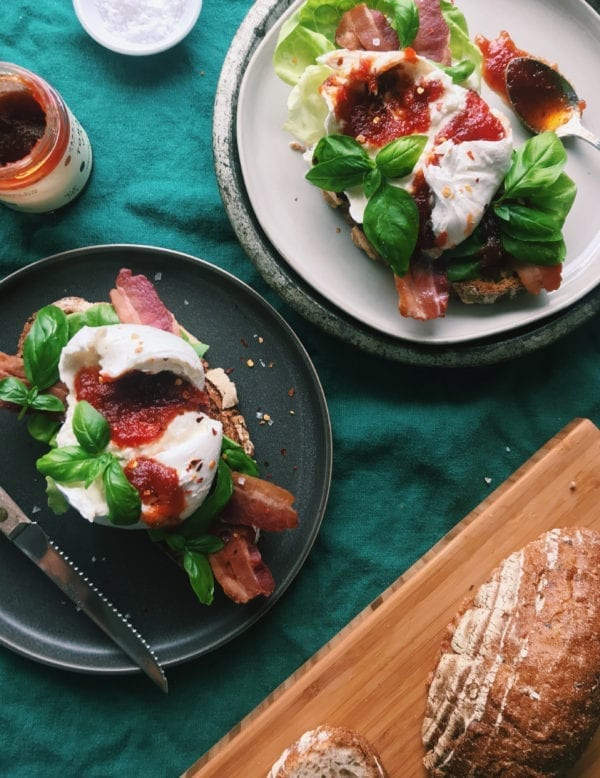 Burrata BLT with tomato jam and basil