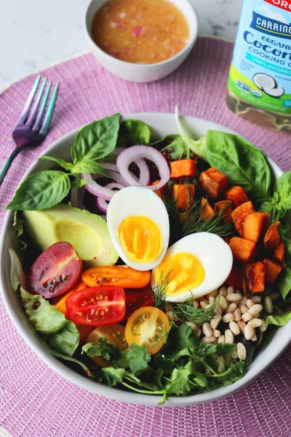 RECIPE: California Veggie Bowl with Crispy Rice, Soft Boiled Egg + Shallot Lime Vinaigrette
