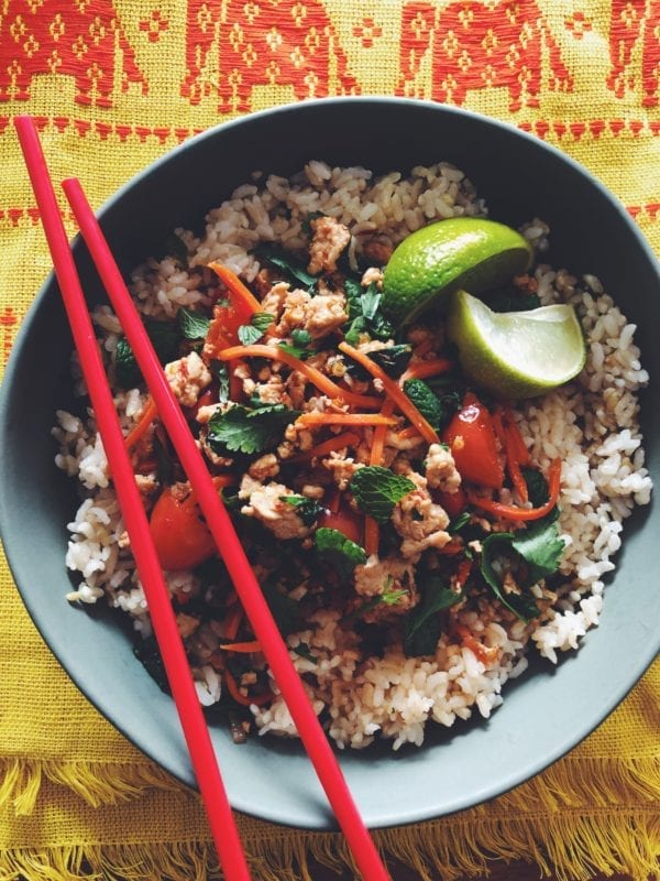 Larb Gai - A spicy, sour, and slightly sweet Thai minced chicken salad with chiles + fresh herbs! Serve over rice or nestled in lettuce leaves - either way, you're in for one of my favorite healthy-ish dishes!