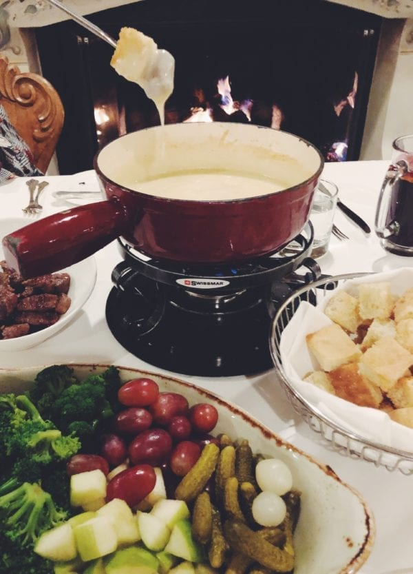 Alpine Cheese Fondue with Pickles, Grapes, Broccoli and Waygu Beef at Goldener Hirsch Inn Restaurant, Deer Valley