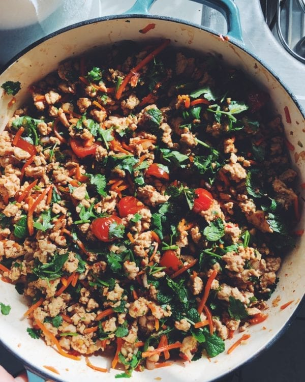 Larb Gai - Spicy, Sour and Slightly Sweet Thai Minced Chicken Salad with Chile + Fresh Herbs