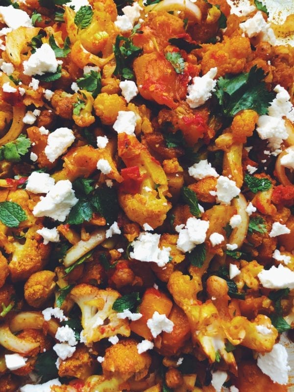 Up close vision of Turmeric Roasted Cauliflower with Honey Harissa Butternut Squash + Crispy Chickpeas with Fresh Herbs + Feta