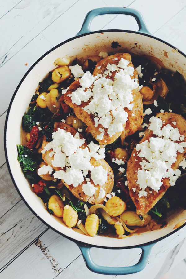 goat cheese chicken with gnocchi
