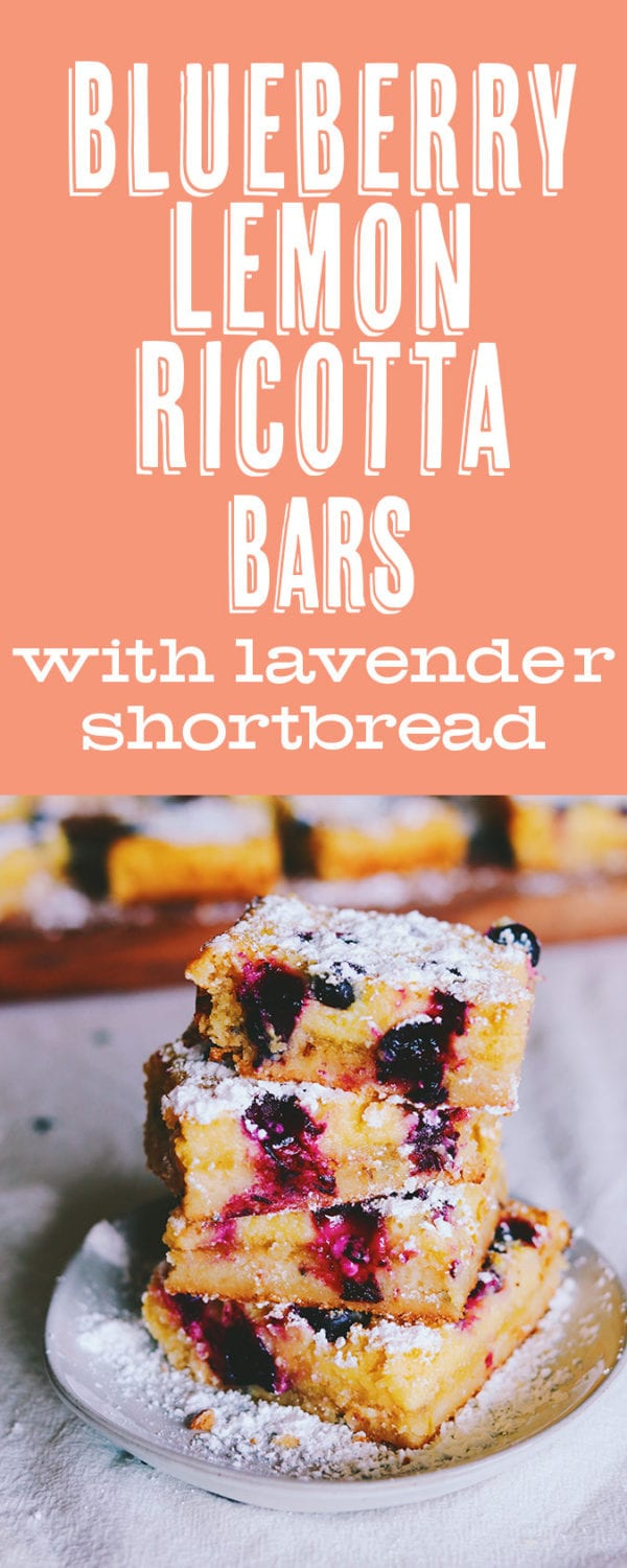 lemon ricotta bars with blueberry and lavender