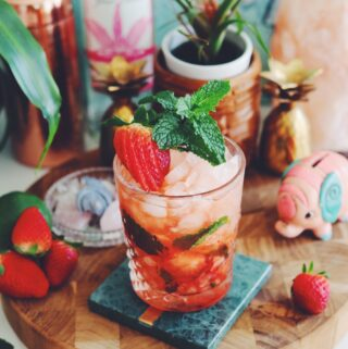 strawberry mezcal mojito