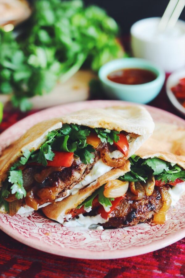pita stuffed with shawarma turkey burger