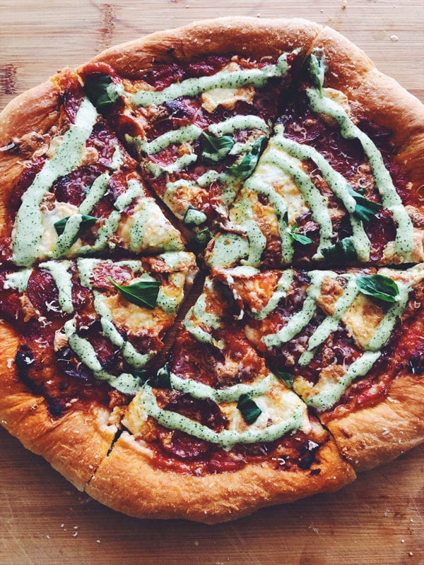 Homemade Pepperoni Pizza with Creamy Jalapeno Ranch Dressing