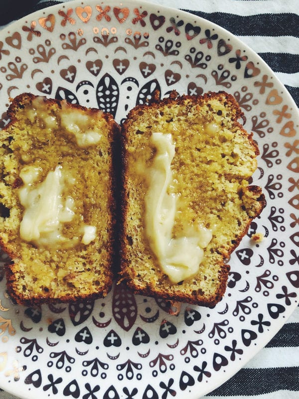 banana bread with salty honey butter