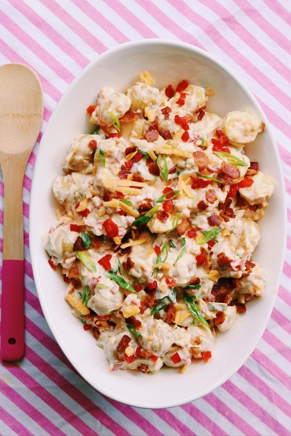 southern potato salad with bacon and pimento chee
