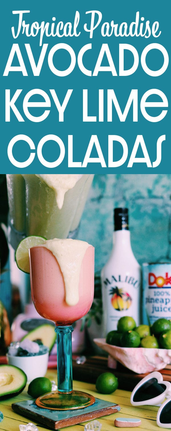 If you like frozen pina coladas, you will absolutely love this Avocado and Key Lime Colada! It's made with pineapple juice, coconut rum, creme de coco, key lime, avocado and ice! It's sweet and tart yet fresh and earthy! And best of all, one sip will transport you to tropical paradise! #cocktail #recipe #keylime #pinacolada #keylimecolada #beachdrink #tropicaldrink #craftcocktail