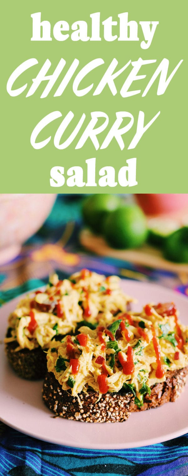 This Healthy Chicken Curry Salad is made with grapes and greek yogurt! Best of all, it's only 2 weight watchers smart points! #ww #points #2points #chickenrecipe #chickencurry #currychickensalad #healthy #greekyogurt #sriracha #under20