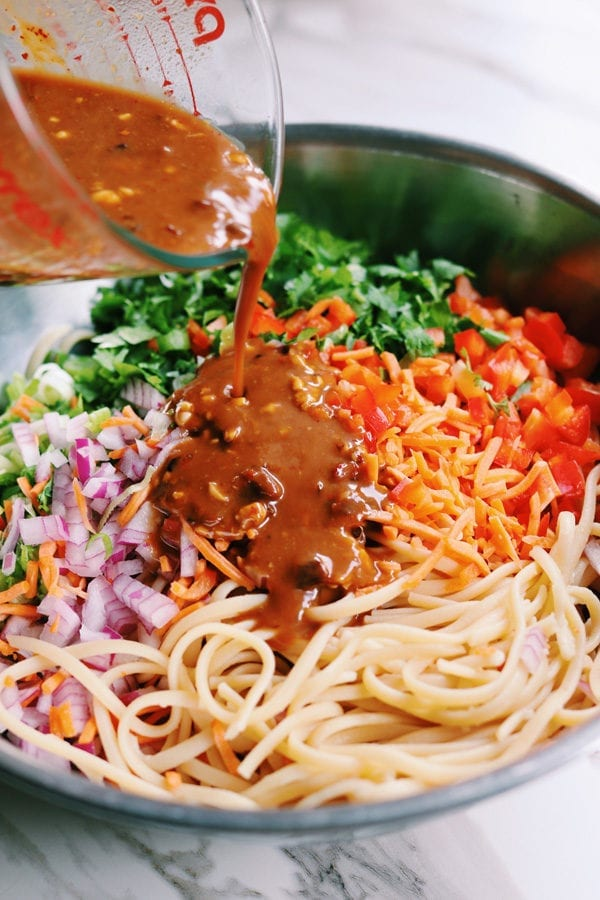 Asian Pasta Salad with Sesame Peanut Sauce