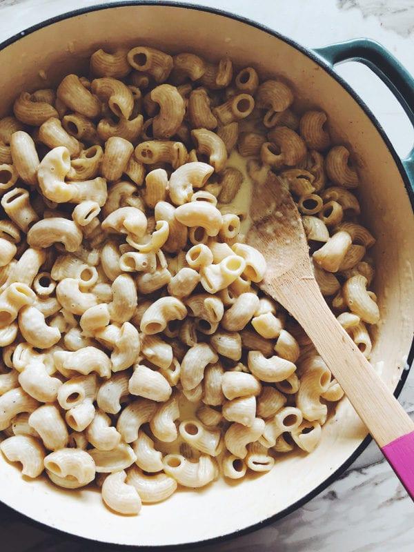 buratta mac and cheese with veggies