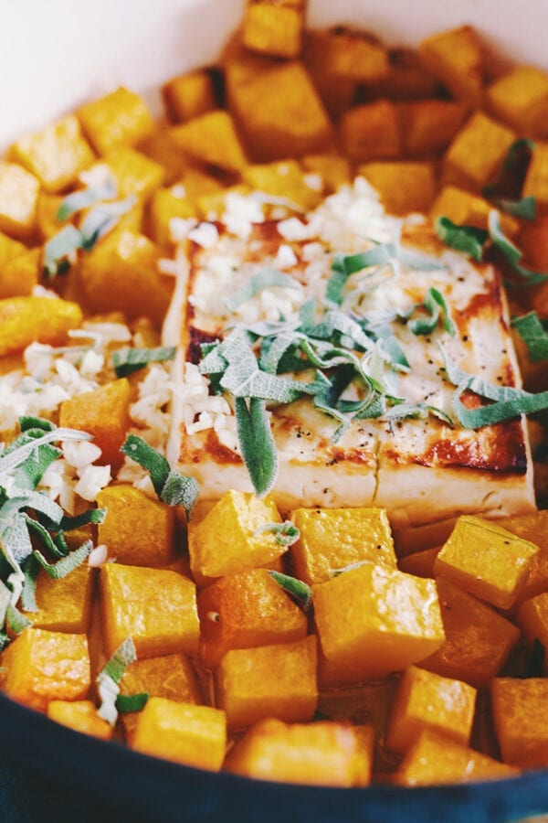 Baked feta with butternut squash