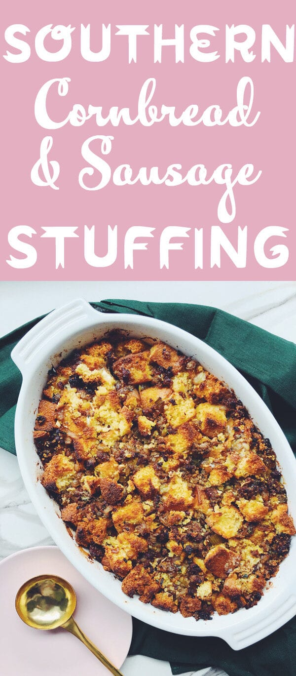 This classic jiffy cornbread dressing recipe is a Southern staple. Sweet and fluffy jiffy cornbread is combined with zesty sausage, caramelized veggies, and fragrant herbs. Then it gets baked up into the most flavorful dressing ever. And if you'd like to turn it into stuffing, simple stuff the turkey with it and voila! #thanksgiving #sides #stuffing #southern #cornbread #sausage #jiffy
