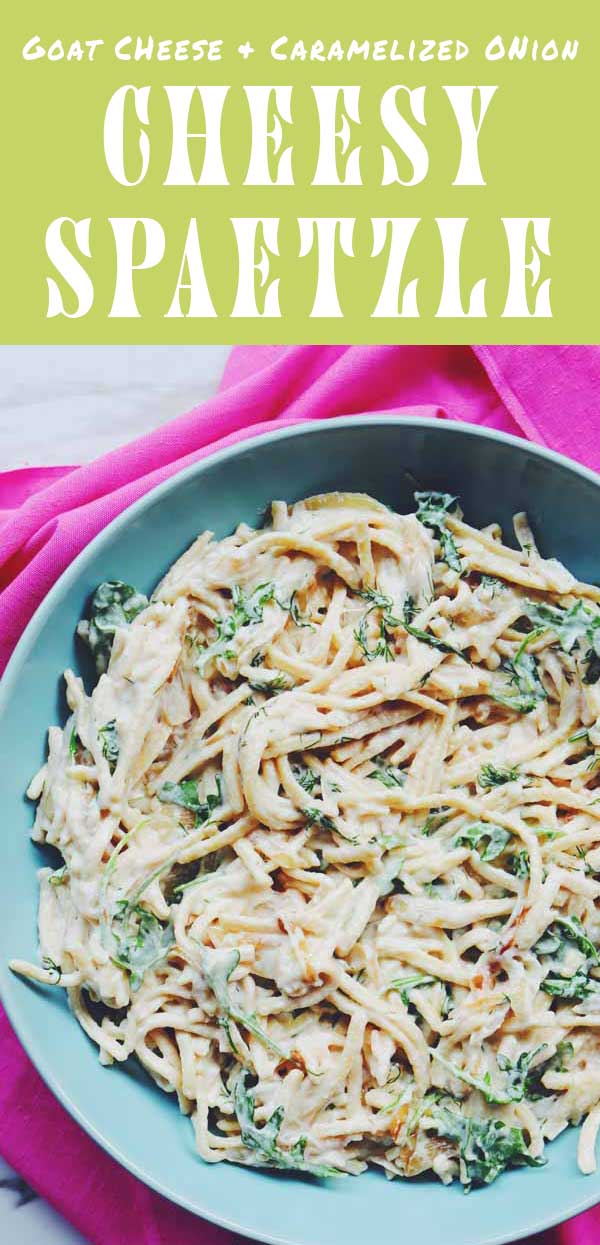 This cheese spaetzle recipe is loaded with sweet caramelized onions, fresh dill, peppery arugula, and tart lemon juice. The cheese sauce is made simply from goat cheese and pasta water and takes no time at all. And although this could totally be vegetarian dish, I like to add some beet sausage for some added protein.