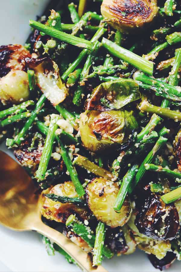 roasted brussel sprouts and asparagus