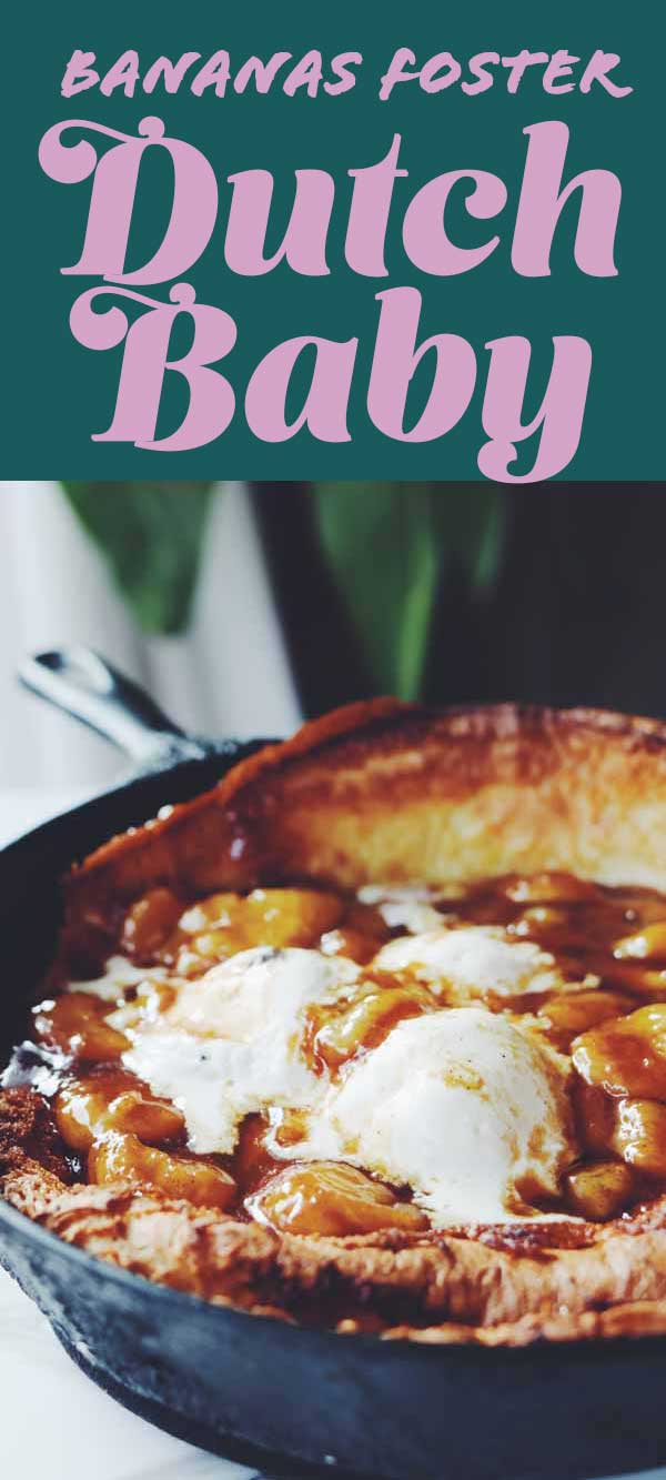 This bananas foster dutch baby is such a show stopper! It's basically like a big fluffy pancake that is topped with ice cream and caramelized bananas. Not only is it super easy to make but it looks gorgeous and tastes even better. It's the perfect decadently sweet breakfast dish or awe-inspiring dessert that looks complicated but it's not.