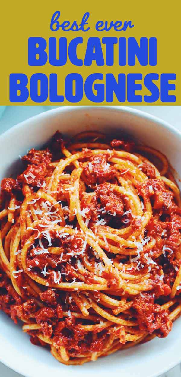 Bucatini Bolognese is one of my favorite hearty italian pasta dinners. It's rich and savory and full of flavor - and you can make this robust sauce in less than an hour. I like to top it with herby whipped ricotta but that is totally optional!