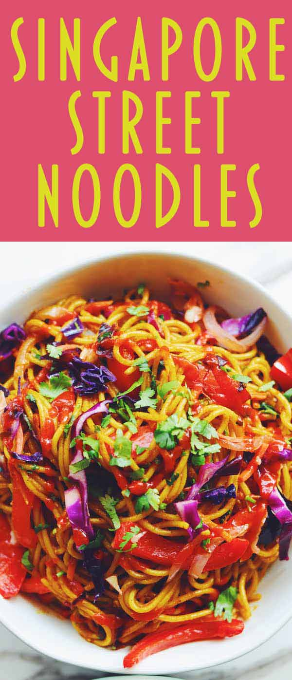 Singapore Street Noodles are one of my favorite take-out dishes. Springy rice noodles and crunchy vegetables are tossed in a sweet and spicy curry sauce that's out of this world delicious. This recipe is vegetarian but you could easily add tofu, chicken, shrimp or pork if you'd like!