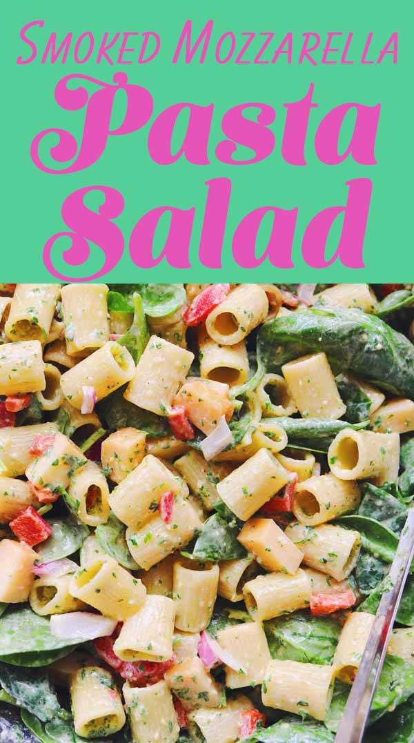 This smoked mozzarella pasta salad is bursting with flavor and color! It's the perfect vegetarian side dish to toss together for picnics, summer lunches or days when you want something cool and and fulfilling. And it's inspired by Whole Food's famous pasta salad.