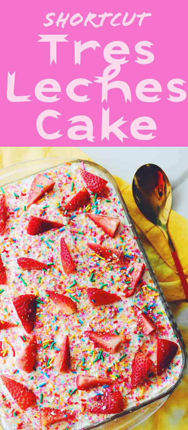 This ridiculously easy Strawberry Tres Leches Cake tastes amazing and uses boxed cake mix to make your life even easier! It's rich and creamy and full of milky goodness! You can top it with fresh strawberries and sprinkles like I did or you can use whatever you'd like!